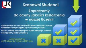 Plakat ankietyzacja - zaproszenie studentów do oceny jakości kształcenia